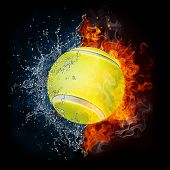 picture of olympiad  - Tennis Ball in Fire and Water Isolated on the Black Background - JPG