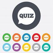 stock photo of quiz  - Quiz speech bubble sign icon - JPG
