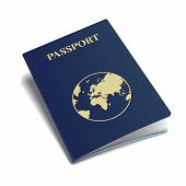 pic of passport cover  - Vector blue international passport with globe sign - JPG