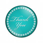 picture of thankful  - Thank You Button A teal button with snowflakes with words Thank You isolated on a white background - JPG