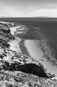 picture of shoreline  - Monochrome image of the shoreline on the northern tip of the popular travel destination Isla del Sol  - JPG