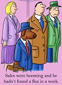 pic of flea  - Cartoon of dog businessman who is thinking that sales were booming and he hadn - JPG