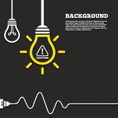 image of hazard symbol  - Idea lamp with electric plug background - JPG