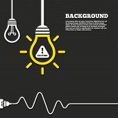 stock photo of hazard symbol  - Idea lamp with electric plug background - JPG