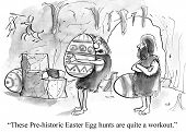 image of caveman  - Cartoon of cavemen saying these Prehistoric Easter egg hunts are quite a workout - JPG