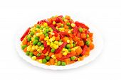 stock photo of frozen food  - Frozen Mixed Vegetables Isolated White Background - JPG
