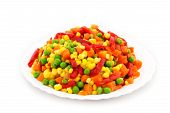 pic of frozen food  - Frozen Mixed Vegetables Isolated White Background - JPG