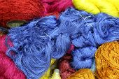 picture of silk worm  - Colorful raw silk thread in the silk farm