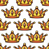 image of emperor  - Cartoon emperor golden crowns seamless pattern for vintage or VIP design - JPG