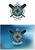 picture of anchor  - Marine or nautical themed navigator emblem or badge in two color variants with crossed oars - JPG