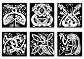 stock photo of celtic  - White on black intricate celtic birds and animals as stork - JPG