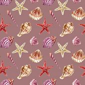 pic of beach shell art  - SeamleSeamless pattern with sea - JPG