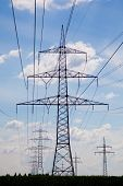 picture of power transmission lines  - power line for high voltage current - JPG