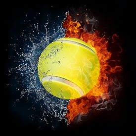 stock photo of olympiade  - Tennis Ball in Fire and Water Isolated on the Black Background - JPG