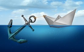 image of anchor  - Determination concept business concept as a paper boat in water pulling a heavy metal anchor as an independence and resolve symbol - JPG