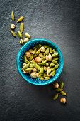 image of cardamom  - Various Cardamom Spices in Authentic Turkish Crockery - JPG