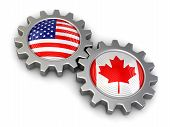 image of snatch  - USA and Canadian flags on a gears - JPG