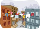 picture of clotheslines  - Illustration of a Ghetto with Clothes Hanging from a Clothesline in Plain Sight - JPG