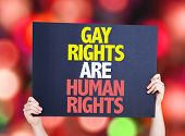 stock photo of human rights  - Gay Rights Are Human Rights card with bokeh background - JPG