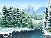 pic of snow forest  - Illustration of a Coniferous Forest Covered with Layers of Snow - JPG