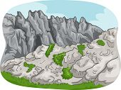 picture of mountain-range  - Scenic Illustration of a Rocky Mountain Range with Some Foliage Below - JPG