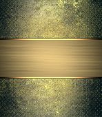 stock photo of nameplates  - Vintage metal background with gold nameplate - JPG