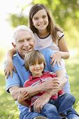 foto of 70-year-old  - Senior man and grandchildren in park - JPG