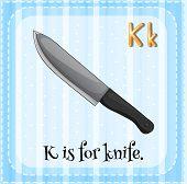 stock photo of letter k  - Flashcard letter K is for knife - JPG