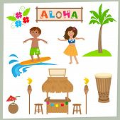 picture of drum-set  - Cute Hawaiian set of tiki bar - JPG