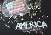 picture of preamble  - black chalkboard in classroom with flag of us - JPG
