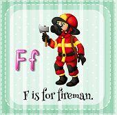 stock photo of fireman  - Flashcard letter F is for fireman - JPG