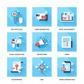 stock photo of blog icon  - Vector set of flat digital marketing icons - JPG
