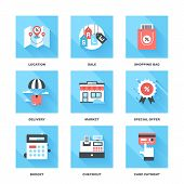 stock photo of payment methods  - Vector set of flat shopping and commerce icons with long shadow - JPG