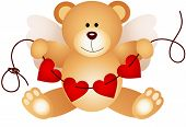 stock photo of cupid  - Scalable vectorial image representing a cupid teddy bear holding string hearts - JPG