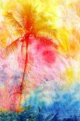 picture of tropical island  - bright watercolor tropical forest palms on island - JPG