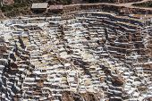 picture of salt mine  - Salinas de Maras the traditional inca salt field in Maras near Cuzco in Sacred Valley Peru - JPG
