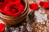 image of salt-bowl  - roses in bowl with pile of salt  - JPG