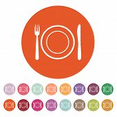 picture of knife  - The Plate dish with fork and knife icon - JPG