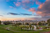image of forty-niner  - Beautiful of Dolores Park San Francisco with background Downtown - JPG