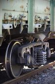 picture of railroad car  - Part of the railroad car shot close-up