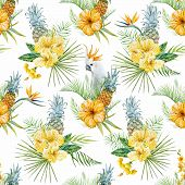 image of jungle flowers  - Beautiful vector pattern with watercolor tropical flowers - JPG