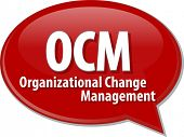 foto of change management  - word speech bubble illustration of business acronym term OCM Organizational Change Management - JPG