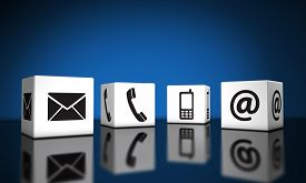picture of reflections  - Web contact us and Internet connection concept with email mobile phone and at icons and symbol on cubes with reflection and blue background for website blog and on line business - JPG