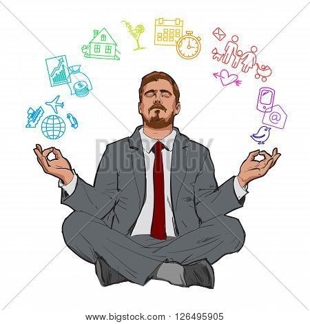 poster of Businessman in nirvana. Relaxed businessman. Search yourself, relax. Harmony with the world. Man resting. Man meditating. Rest of stress at work. Man relax in the vacation. . Man and relax