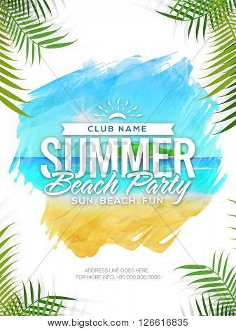 Summer Beach Party Template, Summer Vacation Flyer, Musical Party Banner. Creative vector illustrati