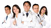 stock photo of health-care  - confident male and female doctor team over a white background  - JPG