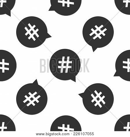 Hashtag In Circle Icon Seamless Pattern On White Background Social Media Symbol Concept Of