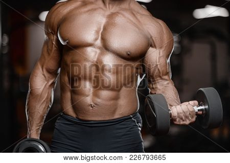 poster of Old Brutal Strong Bodybuilder Athletic Men Pumping Up Muscles With Dumbbells