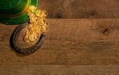 Pile Of Gold Coins From Green Hat St Patricks Day poster
