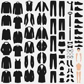Set Of Man Fashion. Clothes Silhouette Isolated On White. Vector Clothing Design. Pants, Suit, Shirt poster